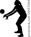 volleyball girl player. women group play 58457009