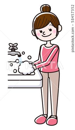 Women washing hands 58457352