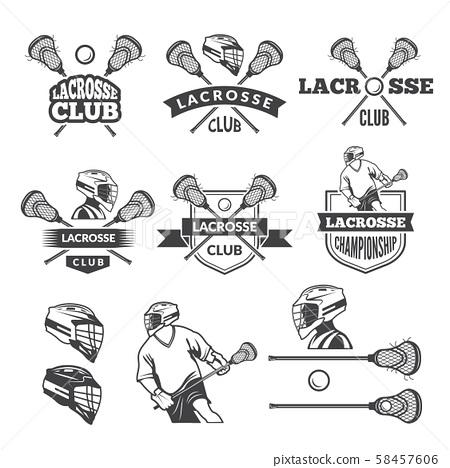 Labels of lacrosse club. Vector monochrome pictures set 58457606