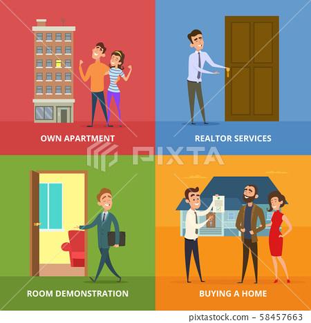 Happy Family Buying Real Estate Buildings Stock Illustration 58457663 Pixta