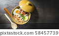 Thai food style noodle, tom yum kung on wood 58457739