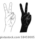 Hand sign victory or peace and scissors. Vector 58459005