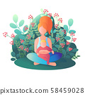 Mom and child are sitting in the lotus position. 58459028