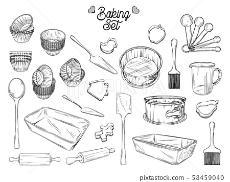 Set of dishes for baking. Baking stuff Vector 58459040