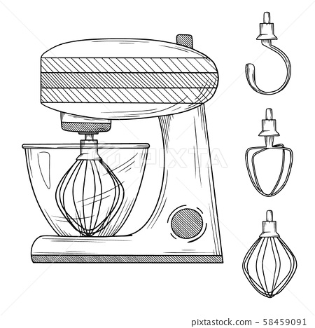 Food processor with different nozzles isolated on white background. 58459091