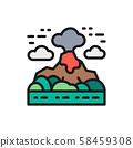 Volcano, mountains landscape flat color line icon. 58459308