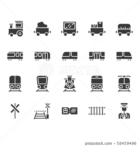Train stations related icon set. 58459496