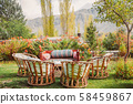 Eco living style garden with wooden furniture 58459867