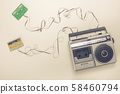 Old radio with tape recorder and cassettes with 58460794