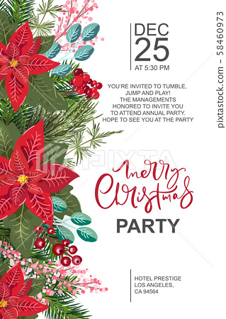 Merry Christmas party invitation and Happy New... - Stock ...
