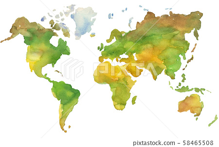 Illustration of hand painted Earth map in watercolor style. 58465508