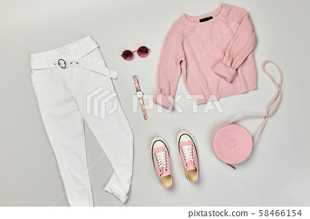 Autumn Fashion Clothes Outfit Flat lay. Maple Leaf 58466154