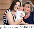 Young mother and grandmother with a baby boy 58466793