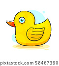Ducky Bath Toy Flat Vector Color Icon For Apps 58467390