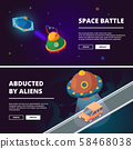 Spaceships cartoon. Vector isometric pictures isolate 58468038