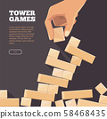 Background illustration with wood brick in hand. Tower games concept 58468435