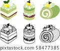 다양한 녹차 케이크의 귀여운 아이콘 58477385
