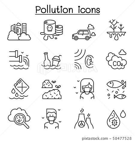Pollution icon set in thin line style 58477528