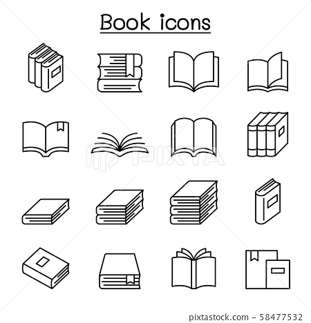 Book icon set in thin line style 58477532