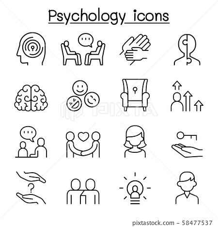 Psychology icon set in thin line style 58477537