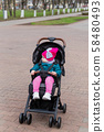 Little girl sitting in a baby carriage on the 58480493