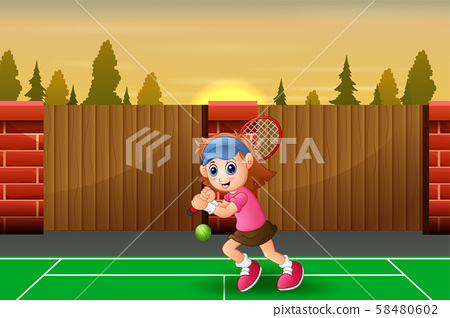 Beautiful girl playing tennis at the court 58480602