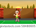 Funny girl cartoon playing badminton 58480605