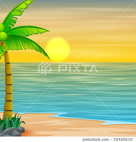 Beautiful seascape seaside with mountain and sunset 58480630