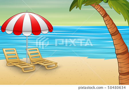 Two sun loungers and parasols on a beach 58480634