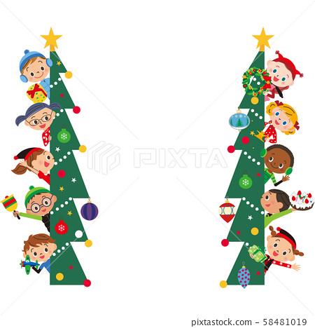 聖誕樹和兒童框架 58481019