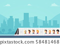 Passengers Train City Illustration 58481468