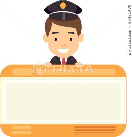 Man Train Ticket Card Illustration 58481470