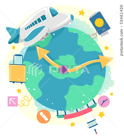Airplane Flight Time Illustration 58481480