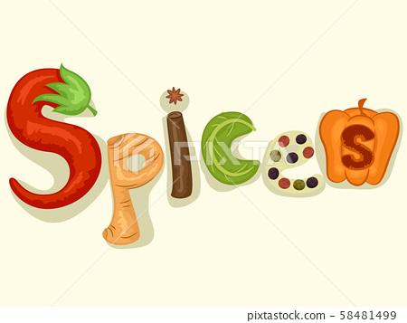 Spices Lettering Illustration 58481499
