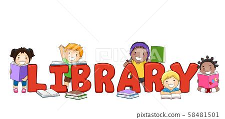 Kids Library Lettering Illustration 58481501