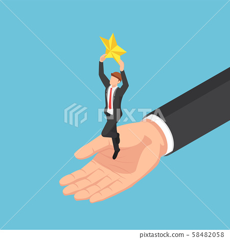 Isometric giant hand helping businessman to catch 58482058