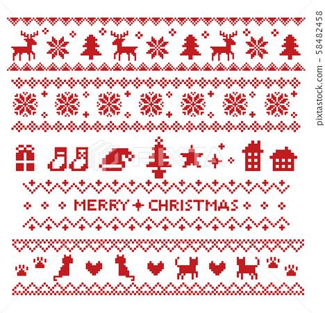 노르딕 무늬 크리스마스 라인 세트 레드 58482458