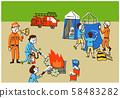 Fire brigade evacuation drill 58483282