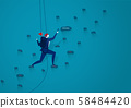 Businessmen are climbing up a mountain with a rope to forward success. . illustration vector. 58484420