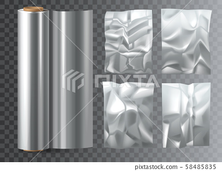 Crumpled food polyethylene package on transparent. 58485835