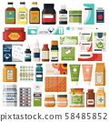 Set of isolated pharmacy items or medicine drugs, 58485852