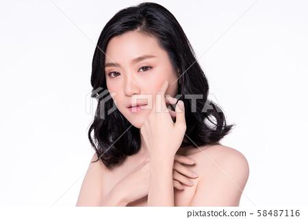 Beautiful Young Asian Woman with Clean Fresh Skin, 58487116