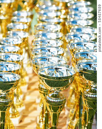 Gold cups are on the table before the presentation 58487689