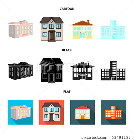 Isolated object of building and city logo. Set of building and modern vector icon for stock. 58491155