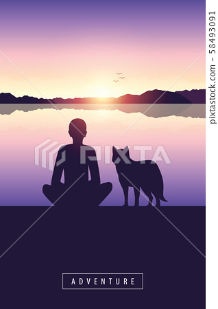 man and dog by the lake with mountain view and sunset adventure design 58493091
