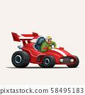 retro cartoon racing car on white 58495183