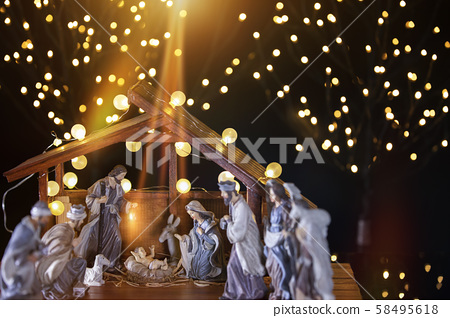 Christmas nativity scene; Jesus Christ, Mary and 58495618