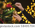 Girl decorates a Christmas tree 58495704