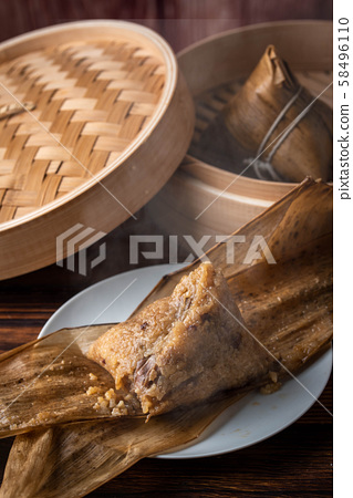 traditional chinese sticky rice dumpling with pork 58496110