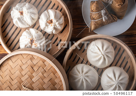 chinese steamed bun in traditional bamboo steamer 58496117